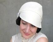Pretty spring cloche Womens cotton hat Modern millinery Cream seersucker hat Summer fashion Womens gift Brimmed hat : Heady Concoction