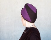 Purple color block cloche hat in wool and cashmere : Getaway for women