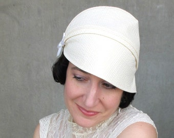 Pretty spring cloche Womens cotton hat Modern millinery Cream seersucker hat Summer fashion Womens gift Brimmed hat : Heady Concoction