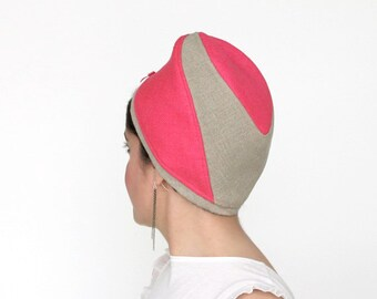 Modern turban, linen raw silk mini beret, hot pink beige toque, cool summer fashion, summer beret, womens travel hat, casual hat  : Getaway