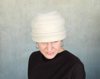 Beige wool cloche with small asymmetrical brim, adjustable size womens hat, handmade sewn millinery by independent designer : Confidante