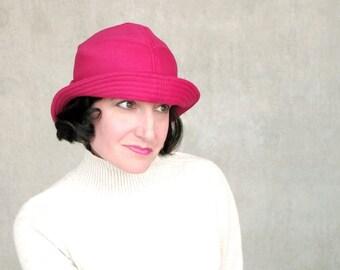 Bright Pink Bowler, Warm Womens Hat, Pink Cloche Hat, Modern Millinery, Casual Bowler Hat, Minimalist Design : SALMAGUNDI
