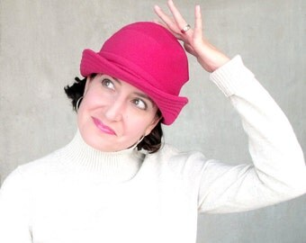 Bright Pink Bowler, Warm Womens Hat, Women Hats Trendy, Pink Cloche Hat, Modern Millinery, Casual Bowler Hat, Minimalist Design : SALMAGUNDI