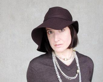 Womens Floppy Brim Hat, Wool Wide Brim Hat, Sewn Fabric Hat, Modern Millinery, Winter Fashion, Women Hats Trendy, Brown Hat : RIPPLE EFFECT