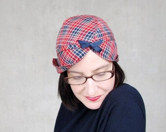 Plaid Wool Hat Plaid Turban Womens Hats Trendy Wool Cap Spring Fashion Casual Cloche Modern Millinery Adjustable Size : Heady Concoction