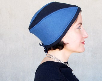 Womens Handmade hat, sewn fabric hat, soft wool turban, blue cloche hat, wool cloche, warm cashmere hat, bright blue navy blue : Getaway