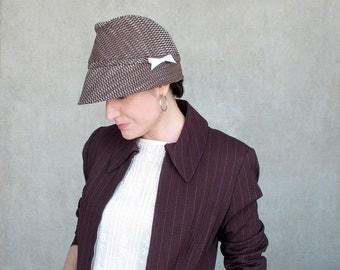 Spring Cotton Fedora, Chocolate Brown Hat, Menswear Inspired, Womens Soft Cloche, High Fashion, Designer Millinery, Handmade Hat : Fedorable