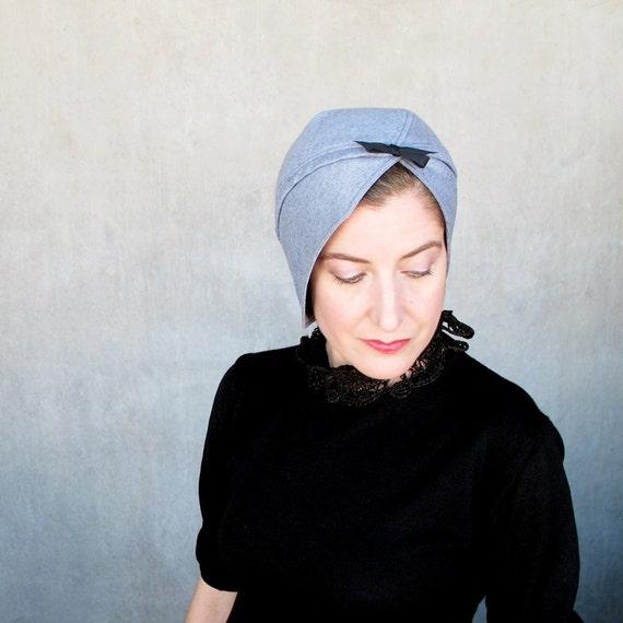 Womens modern turban, spring fashion cloche, womens hats trendy, sewn fabric hat, handmade cloche, blue wool turban : Heady Concoction