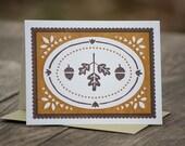 set of five acorns and oak leaves letterpress greeting cards