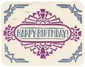 block-printed geometric Birthday card