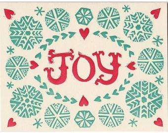 JOY block printed greeting card - blank inside, single card