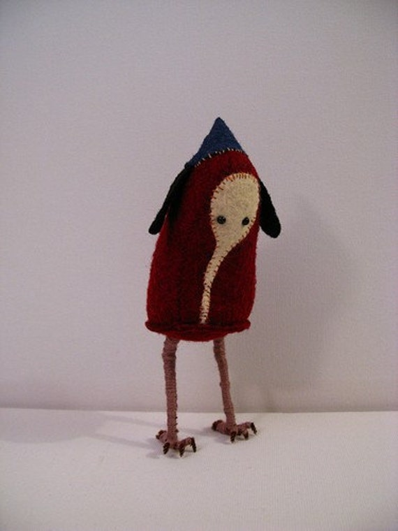 Tribute To Hieronymus - Red Bosch Figure - Felt Creation by Melissa Sue Stanley