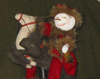 Folk Art Snowman and Reindeer Sculptured Doll/Figurines
