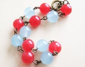 Sailor Jerry - Red and Blue Candy Jade Bead Bracelet - pulpsushi