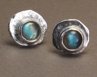 Rain or Shine - Labradorite Studs - Stud Earrings with 6mm Gemstones on Hammered Texture Sterling Silver -  Post Earrings For Men and Women