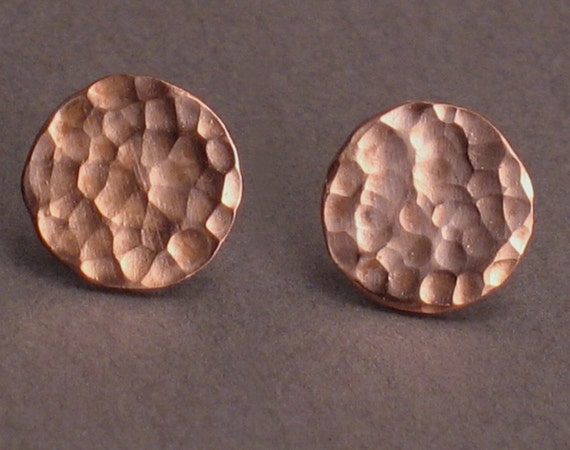 Copper Moon - Hammered Studs for Men and Women - 10 mm disks - Copper and Sterling Silver Post Earrings