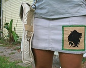Recycled AE rasta lion applique patch skirt