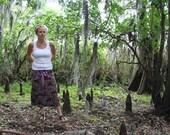 Purple batik tribal peacocks drawstring waist pocket skirt