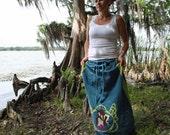 Art nouveau hemp long goddess drawstring skirt