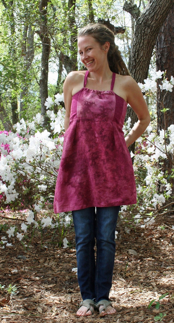 Guava wine ripple hemp and cotton apron adjustable tank top