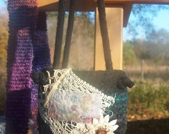 Imagine - A Felted Purse Embellished w/Vintage Laces and Jewelry