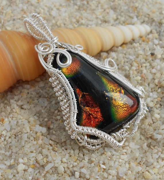 Dichroic Glass & Silver Wire Wrapped Pendant Necklace