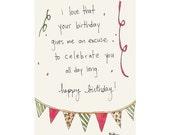 celebration excuse birthday card