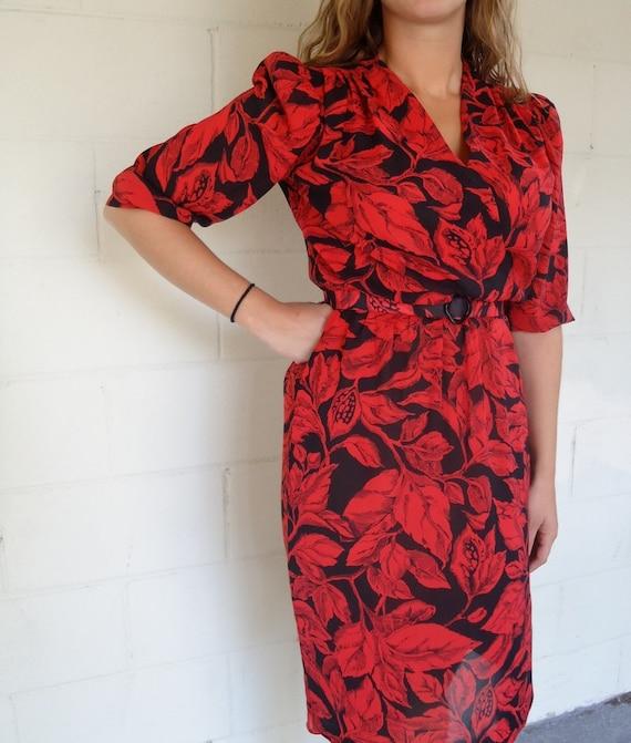 SALE Vintage 80s Red Classic Sheer Print Deep V Neck Dress with Belt