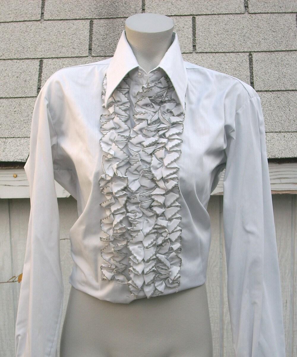Vintage Mens Ruffle Front 70s Tuxedo Shirt In Slate Grey