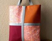 AandV Tote Clutch Handbag- Fold Over Style- Orange Burgundy and Light Gray