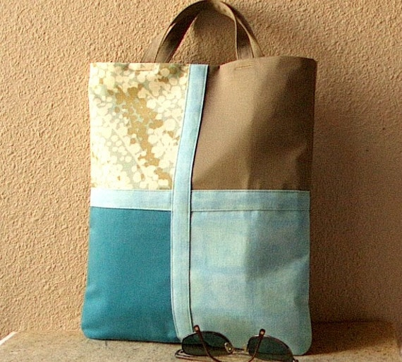 AandV Tote Clutch Handbag- Fold Over Style- Aqua and Khaki