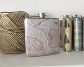 old world map 6 oz flask