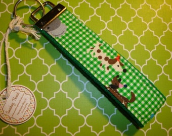 Green Gingham Animal Party Wristlet Keychain