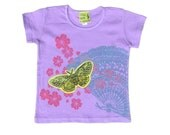 Block Printed Kids T-Shirt - Moth - Toddler Cap Sleeve - Sale