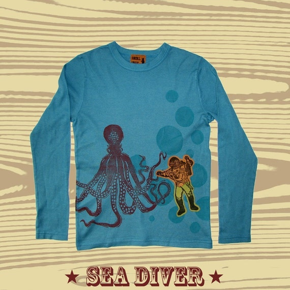 Youth Hand Dyed Block Printed Octopus L\/S T-Shirt