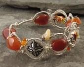 Autumn Bracelet - Wirewrapped Coiled Carnelian, Fire Opal, Sterling Silver