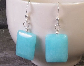 Earrings - Blue Quartz and Sterling Silver