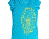 Ferris Wheel T-Shirt- Turquoise and Yellow- Sizes L and XL