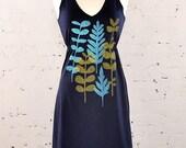 SALE Leafy Dress in Navy Blue Size L
