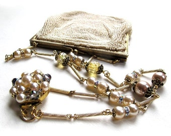 Vintage Cream Seed Bead K & G Charlet Beaded Bag Necklace, Beaded Bag Statement Necklace, Fun Retro Bride Necklace