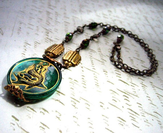 Mermaid Green Gold Czech Glass Button Necklace