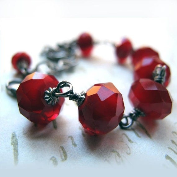 Blood Ruby Red Glass Bead Oxidized Sterling Silver Bracelet