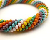 spiral beaded bracelet - multi-colored