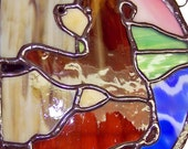 Bear Climbing Stained Glass Circle Suncatcher