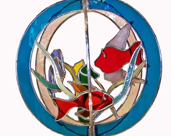 Fish and Seahorse Stained Glass Suncatcher Whirl