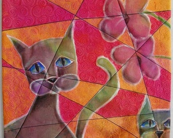 Fractured Cats - Art Quilt