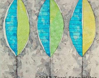 Three Leaves Art Quilt