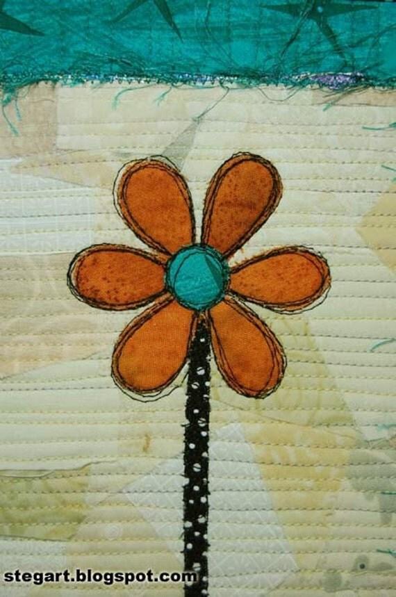PRICE SLASH Scribble Flower Art Quilt