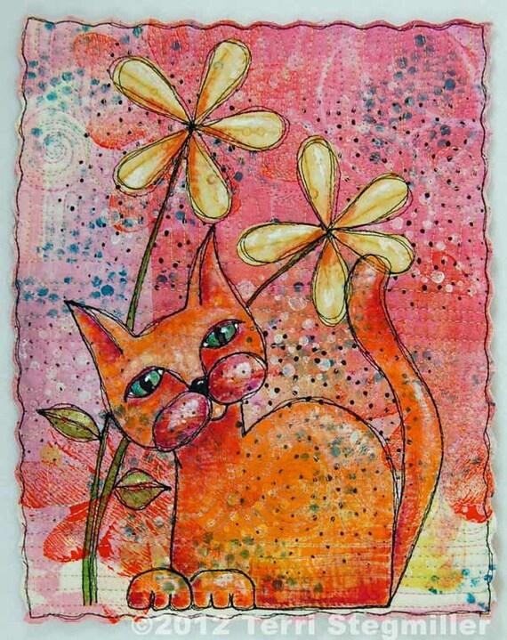 Orange Kitty Mini Art Quilt