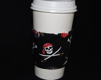 Jolly Rodger Green Sleeve Coffee Cozy for Pirate Lovers Arrrrrrr